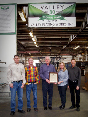 L - R: David Cullen, Matt Cullen, Doug and Carole Anton, Kevin Wright display Valley's ISO 9001 certificate